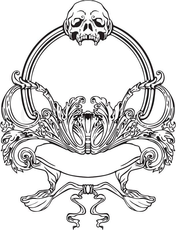 Jugendstil-Rahmen mit Schädel | Vektorgrafik | Colourbox