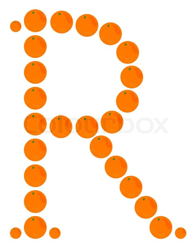 Stock vector of  Letter - R made from orange The Letter R In Orange