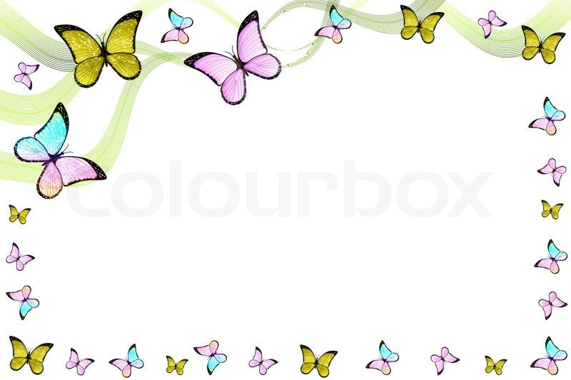 Creative colorful abstract frame with bautterflies and ...