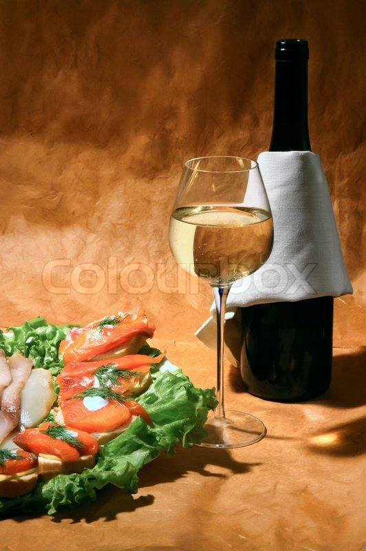 Still life with white wine and fish stock photo colourbox for White wine with fish