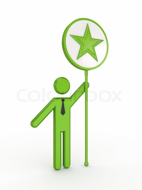 3d Small Person With A Star Symbol In A Hand Stock Photo Colourbox