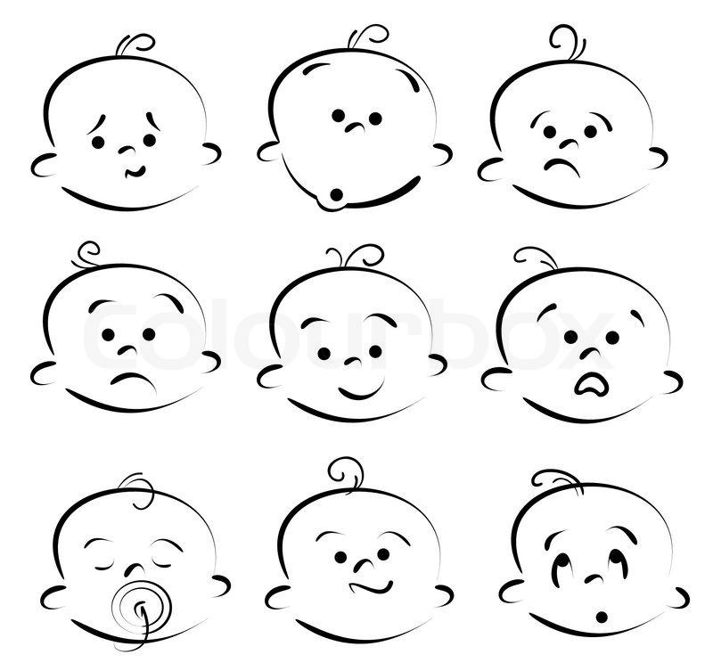 Kids Faces Vector Kid Face Cartoon Icons Vector