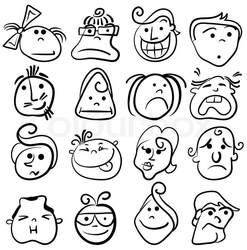 People face cartoon vector icon stock vector colourbox for Doodle art faces