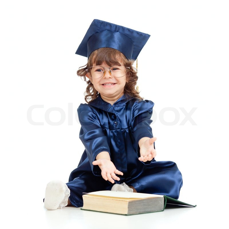 Stock image of 'emotional funny child in academician clotheswith book'