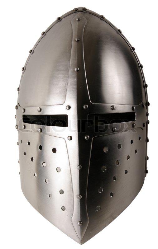 iron helmet of the medieval knight very heavy headdress