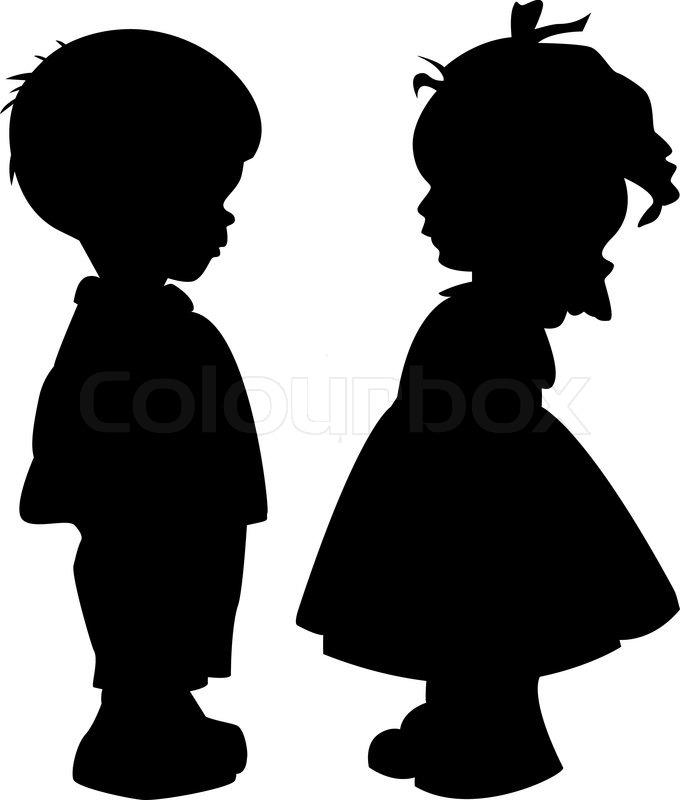 silhouettes of children stock vector colourbox rh colourbox com jumping child silhouette vector child silhouette vector free