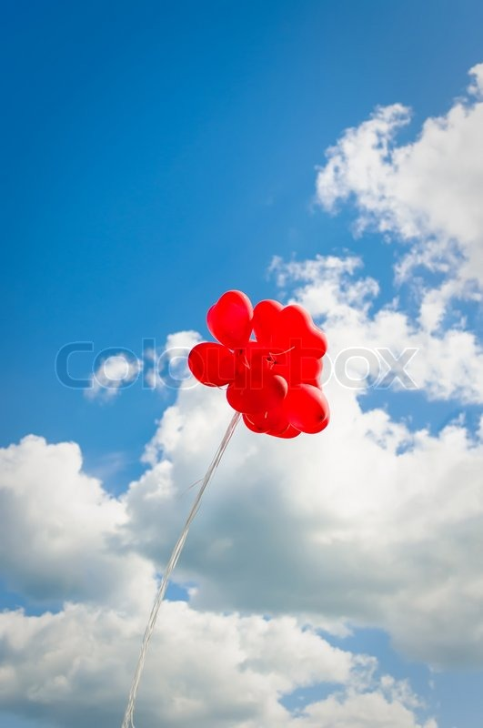 red balloons in the sky stock photo colourbox