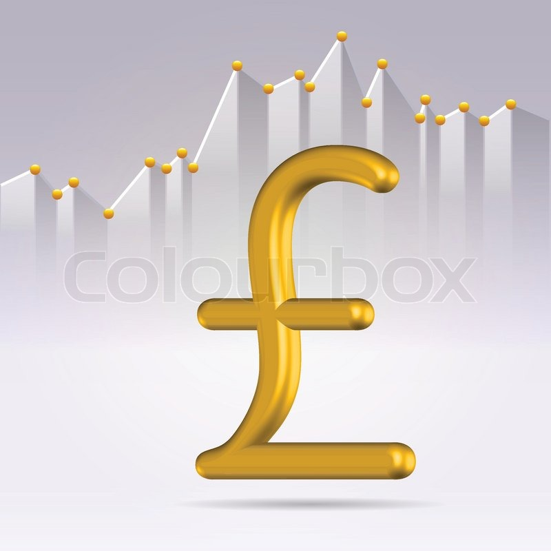 Golden Sterling Pound Sign On The Marketdetailed Stock Chart Stock