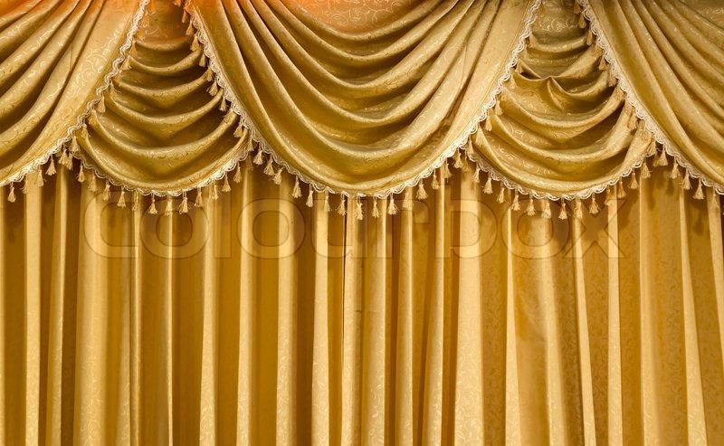 Light Gold fabric Curtain | Stock Photo | Colourbox