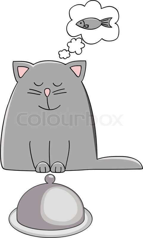cat dreaming of eating fish vector illustration stock