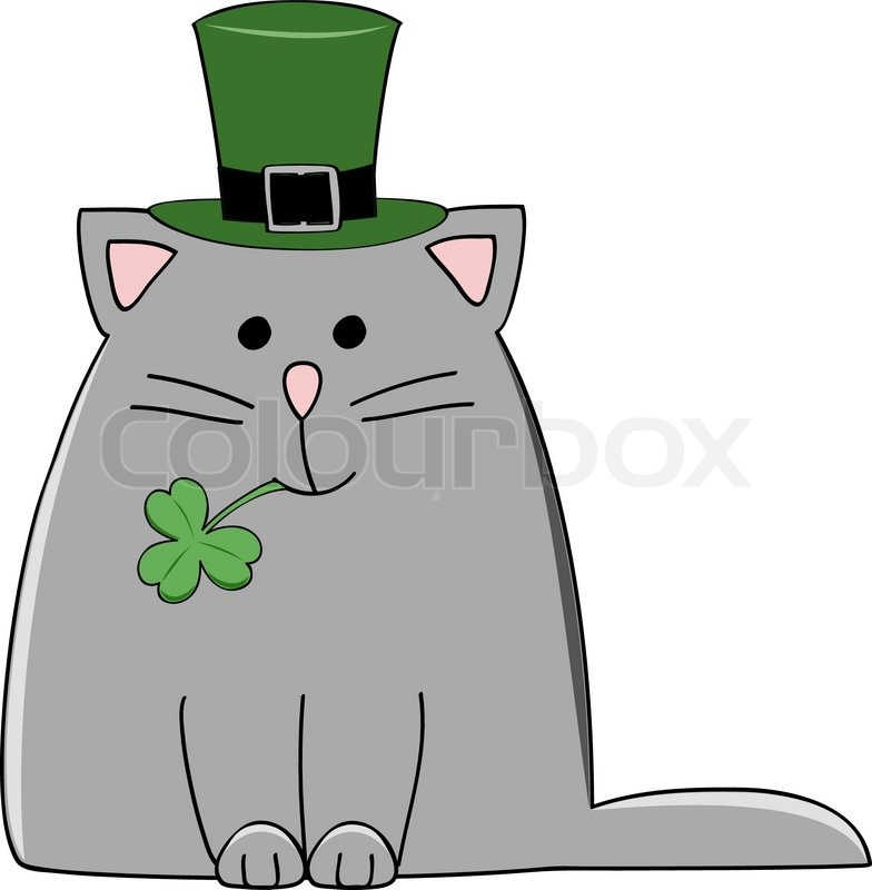 A cute grey cat with a green irish hat and shamrock for Irish mail cart plans