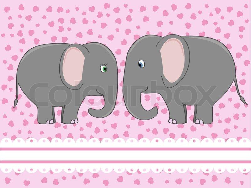 Elephant Love Drawing Elephants in Love Vector