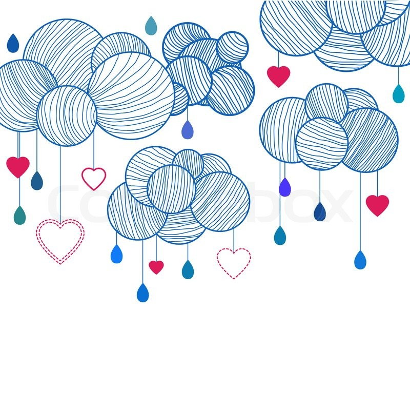 cute background with hand drawing clouds stock photo colourbox