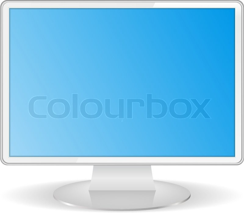White Computer Monitor Stock Vector Colourbox