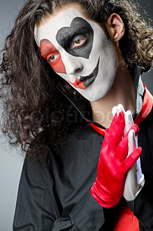Halloween Joker Card.Joker With Face Mask In Studio Stock Image Colourbox