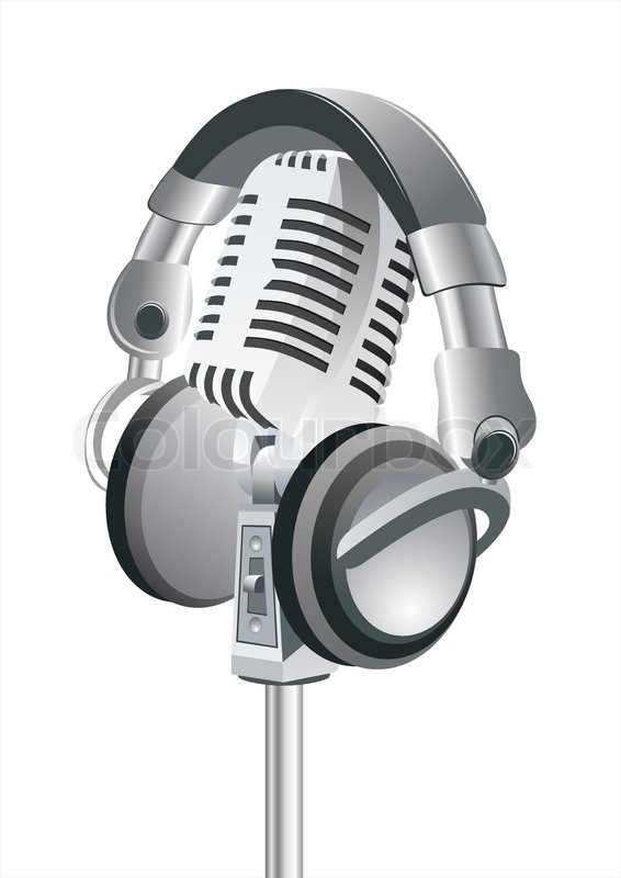 microphone dj headphones stock vector colourbox. Black Bedroom Furniture Sets. Home Design Ideas