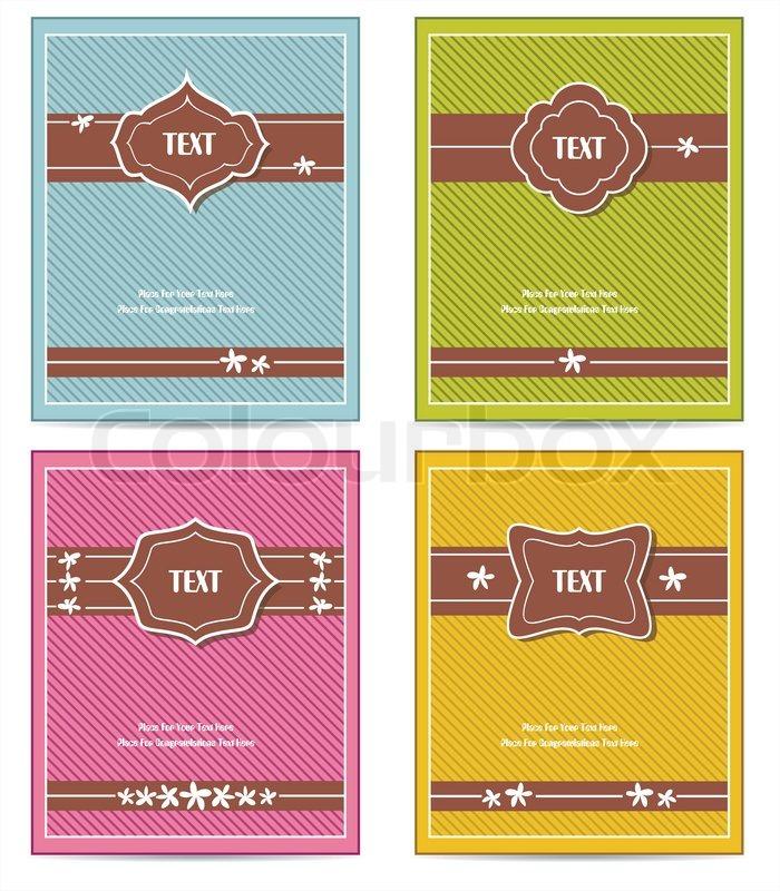 Vintage Book Cover Design Template ~ Old vintage book cover set or template frame design for