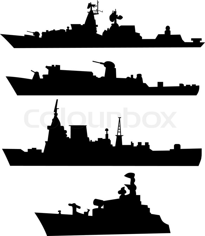 Four silhouettes of a military ship | Stock Vector | Colourbox