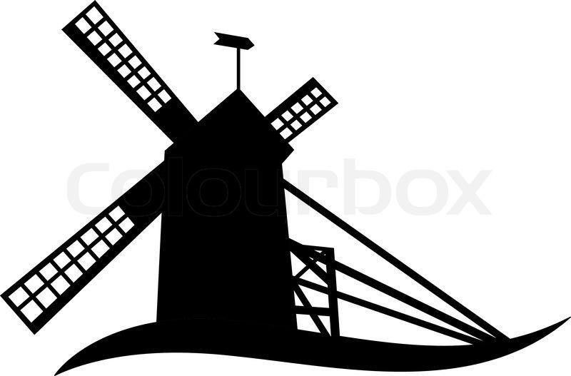 windmill silhouette stock vector colourbox