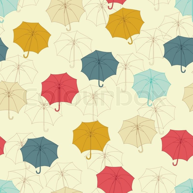 Seamless Pattern With Cute Umbrellas Vector Illustration