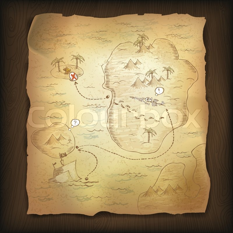 Treasure map on wooden background stock vector colourbox gumiabroncs Choice Image