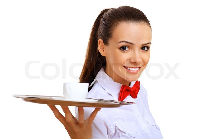 young waitress with an empty tray stock photo colourbox. Black Bedroom Furniture Sets. Home Design Ideas