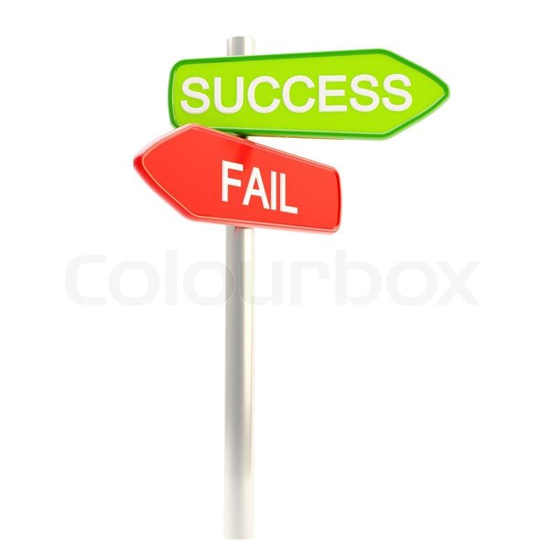 success versus failure as roadsign post stock photo colourbox