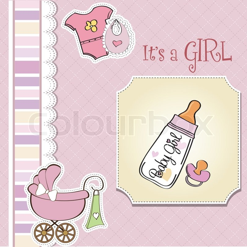 New Baby Girl Announcement Card With Milk Bottle And