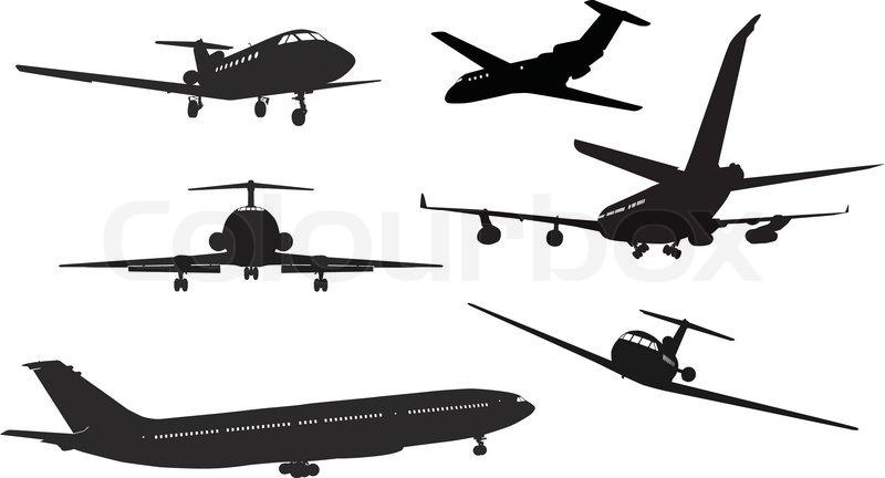 Aircraft Silhouettes Stock Vector Colourbox