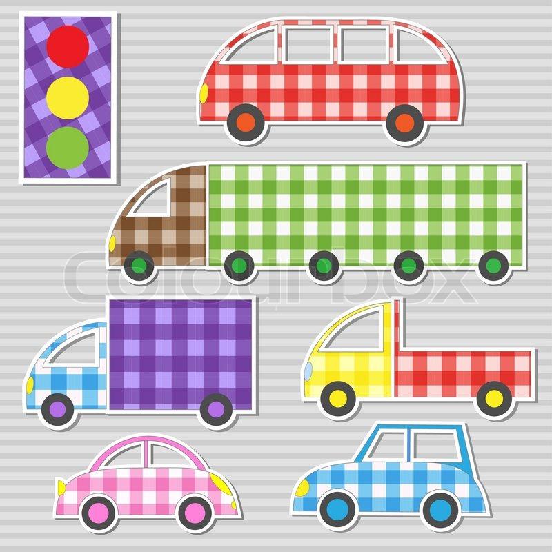 Vector set of transport textile stickers stock vector - Como hacer colchas de patchwork ...