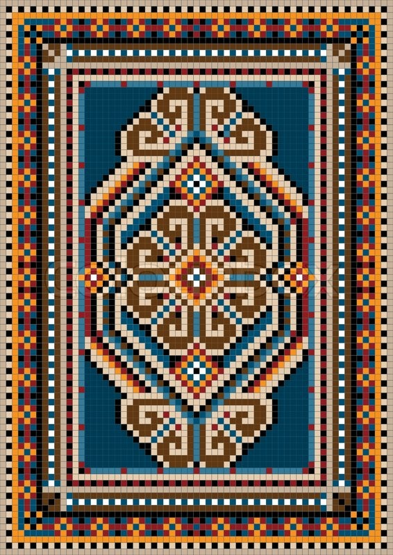 The Ancient Oriental Design With A Frame For Carpet