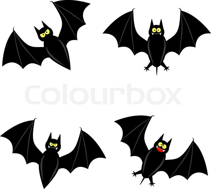 4280492 cute vector bat in 4 different - Murcielagos para halloween ...