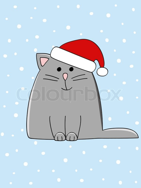 A Cute Grey Cat With A Christmas Hat On His Head Stock