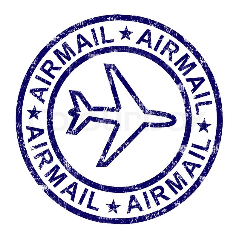 airmail stamp shows international mail delivery stock photo