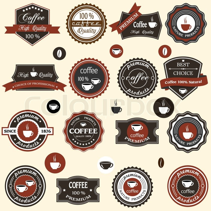 Coffee Manufacturers Logos : Coffee labels and elements in retro style Stock Vector Colourbox