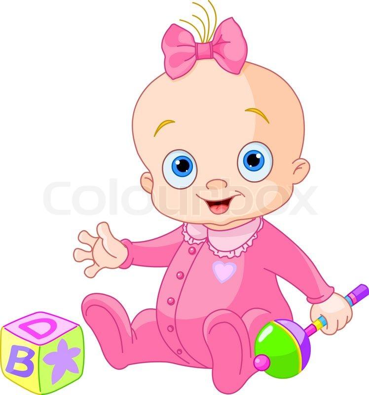 sweet baby girl stock vector colourbox rh colourbox com clipart of newborn baby girl clipart baby girl pictures