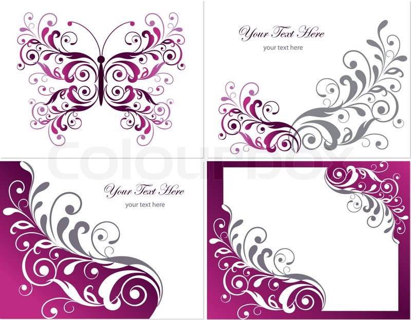Set of floral graphics design elements with frame and butterfly ...