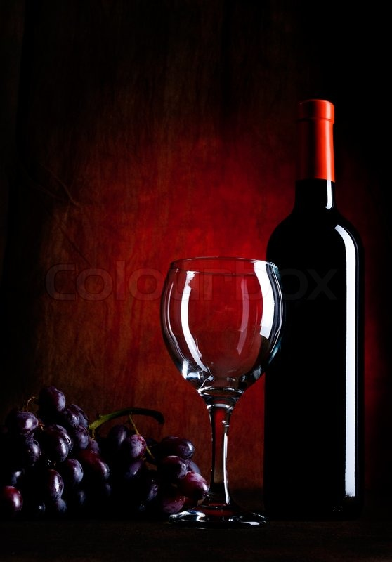 Wine bottle with glasses and grapes stock photo colourbox for Red glass wine bottles suppliers