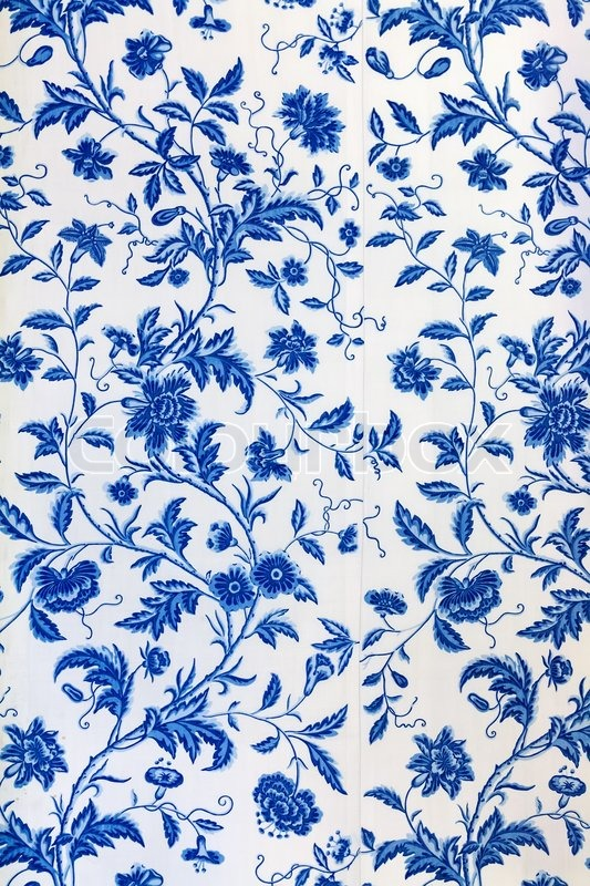 Blue floral pattern on the wallpaper | Stock Photo | Colourbox