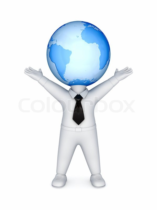 3d small person with a globe on a head stock photo colourbox