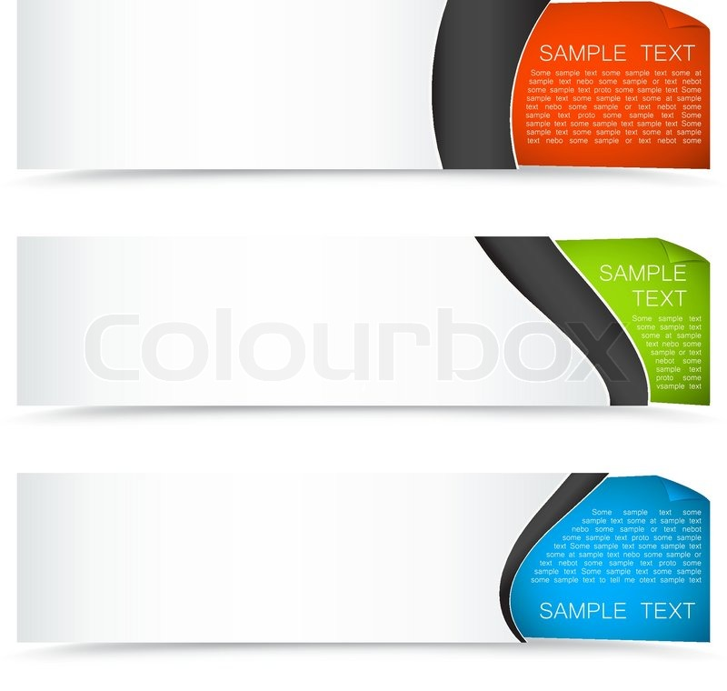collection of colourful horizontal banners with curled corner