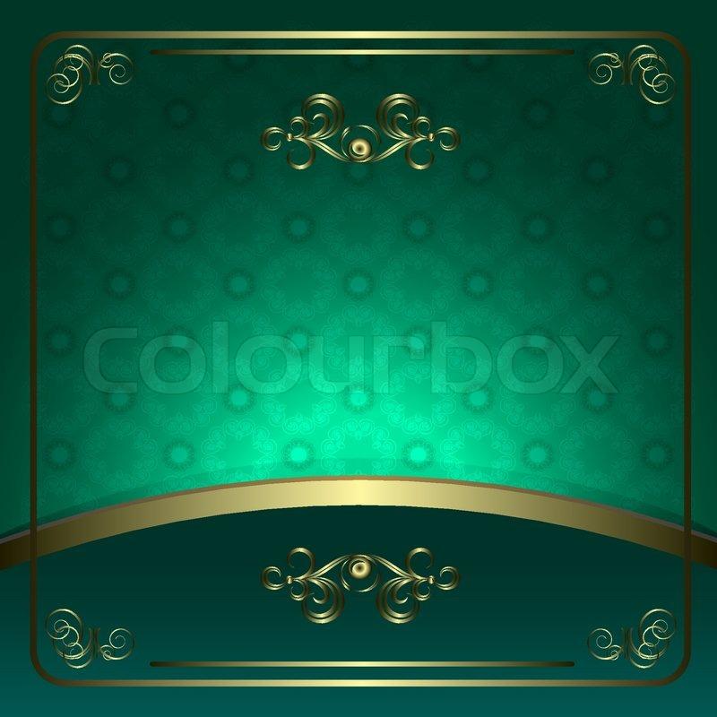 Vintage Vector Background In Green Tones With Golden