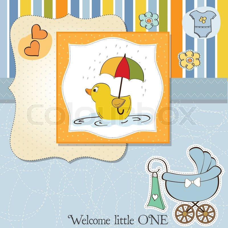 Baby Shower Karte Text.Baby Boy Shower Card With Duck Toy Stock Vector Colourbox