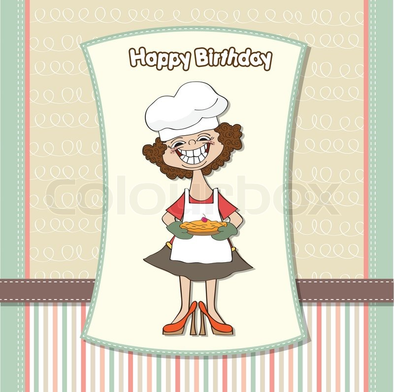 Birthday Greeting Card With Funny Woman And Pie Stock Vector