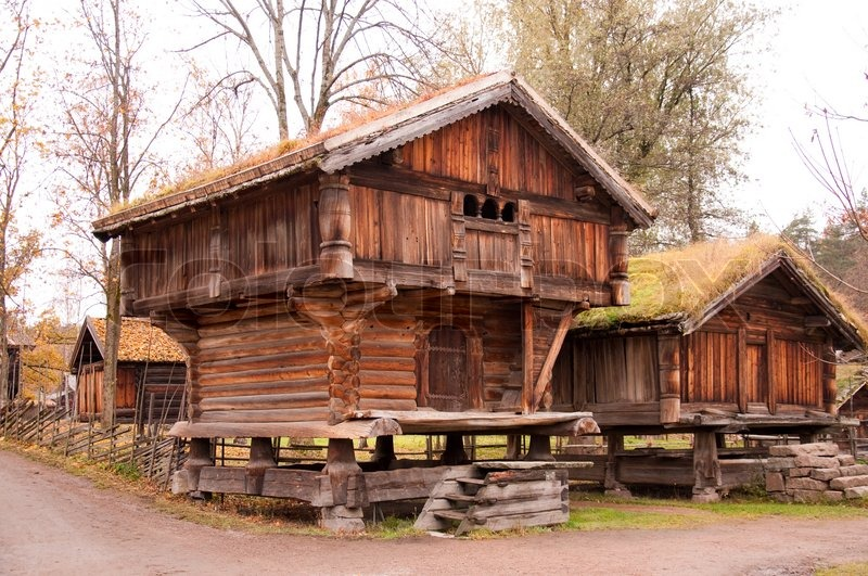 norwegian typical wooden house stock photo colourbox