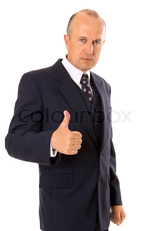 businessman showing thumbs up stock photo colourbox