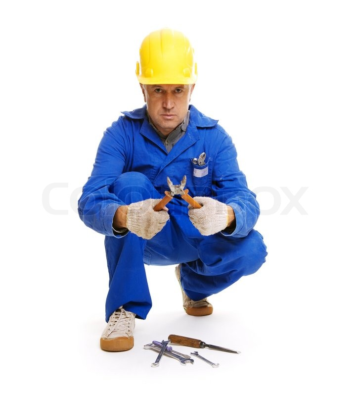 Foreman Builders Mail: Handsome Workman Sitting On The Floor With Different Tools