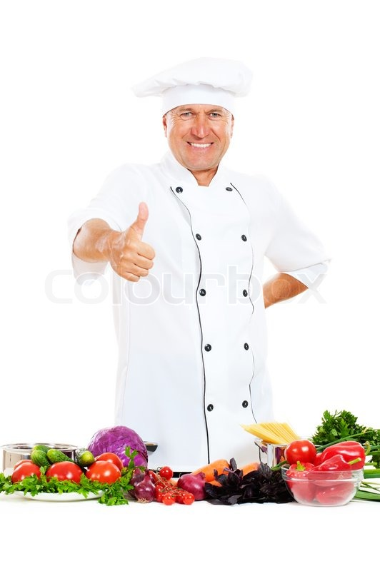 smiley chief cook showing thumbs up stock photo colourbox