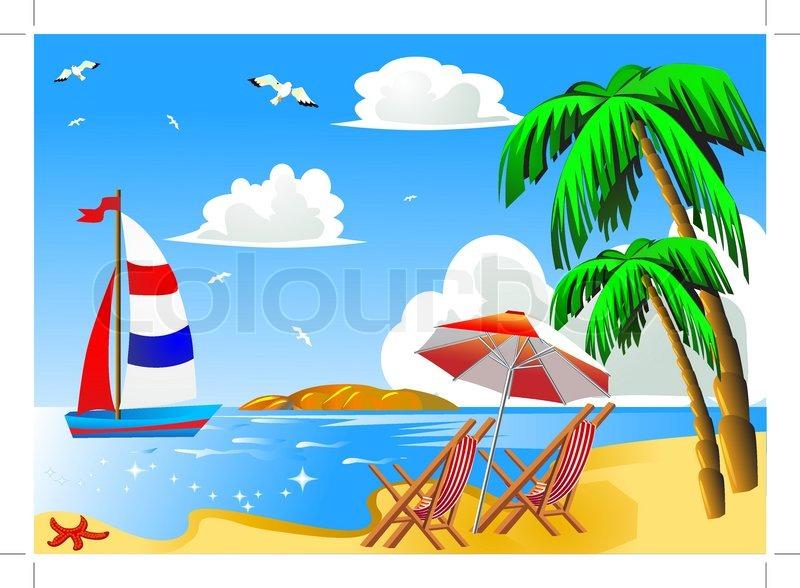 Meer strand mit palme von segelboot stuhl und schirm for Koch auf englisch