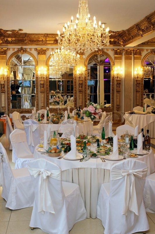 & Table setting at a luxury wedding reception   Stock Photo   Colourbox